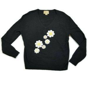 Wildfox Sequin Daisy V-Neck Sweater